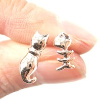 Kitty Cat and Fishbone Skeleton Animal Shaped Stud Earrings in Rose Gold