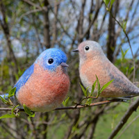 Unigue Wedding bird's pair - Felt figurines of Bluebird's pair are an universally recognized symbol of renewal and happiness!