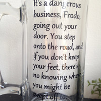 Dangurous bussiness going out your door beer mug