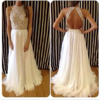 Custom Made 2014 Chiffon Sequined White Prom Dresses Long Dress with Open Back Formal Evening Gowns Vestido De Formatura