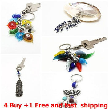 Ready to ship, 4 Buy 1 free and fast shipping, 1 evil eye key chain gift set , talisman, keychain, christmas gift for friends