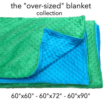 "LARGE MINKY BLANKET- You Pick Colors and Size- 60""x60"", 60""x72"", 60""x90""-minky blanket- twin size blanket- minky throw blanket- sofa blanket"