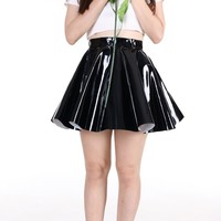 Glitters For Dinner — Made To Order - Black PVC Circle Skirt