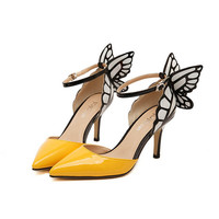 New Butterfly Wings Pointed Pumps Tip Fine With Spell Color High Heels Yellow Black Thin Heel Women Shoes Plus Size 40 ZK30