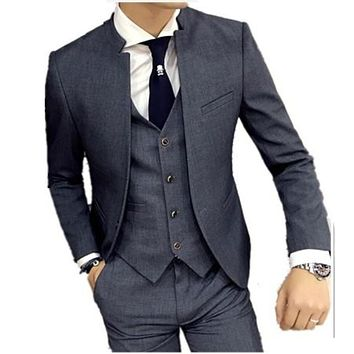 Stand collar suit jacket men's self-cultivation business casual good quality suits male jacket
