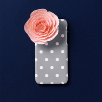 iPhone 6s case - Chic Grey Dot - iPhone 6 case, iPhone 6 Plus case, iPhone 5s case, w/ Good Luck Gold Sticker, matte non-glossy M22