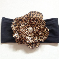 Cheetah peony flower on a black jersey knit headband- Baby Toddler Child Adult Headband