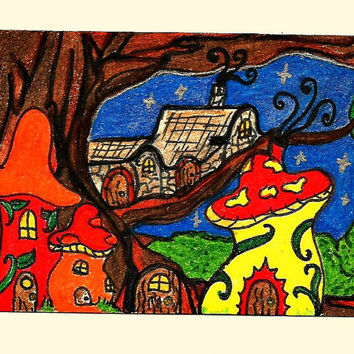ACEO Fairy Village with Tree ATC Art Trading Card SFA