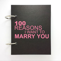 Custom journal, notebook, sketchbook, diary, ring binder, jotter blank notepad, typography, customized, 100 reasons I want to marry you