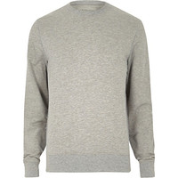 River Island MensGrey marl basic long sleeve sweatshirt
