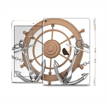 The Nautical Captains Wheel with anchors Skin Set for the Apple iPad Air 2