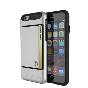 iPhone 6/6s Plus Case PunkCase CLUTCH Silver Series Slim Armor Soft Cover Case w/ Tempered Glass
