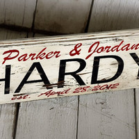 Reclaimed painted and distressed wood sign - Wedding Gift