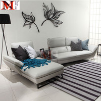 cow real leather sofa sectional living room sofa corner home furniture couch L shape functional backrest and stainless steel leg
