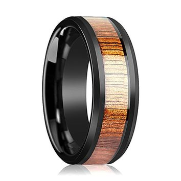 Mens Wooden Ring Koa Wood Inlay  Ceramic Wedding Band  Beveled Edge Polished Finish - 4mm, 6mm 7mm, 8mm, 10mm, 12mm, Ceramic Wedding Ring