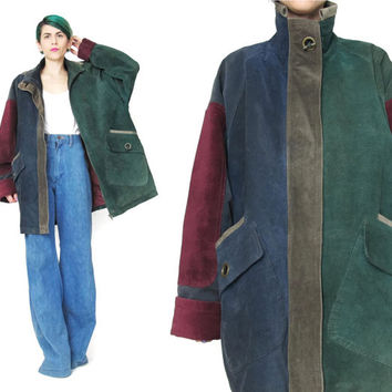 80s 90s Leather Winter Coat Color Block Coat Vintage Suede Winter Jacket Oversize Leather Parka Forest Green Zip Up Toggles Unisex (M/L)