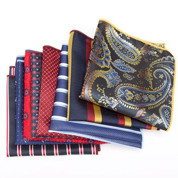 Men Handkerchief bowtie party Floral Jacquard Pocket Square Wedding Necktie Vintage Hankies for Pocket Towel Business Tie