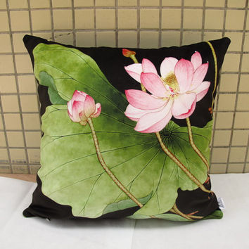 Decorative Velvet Pillow Cushion Cover Water Lily Floral Pillow Lotus Flower Artwork Printed Double Sides Black Background