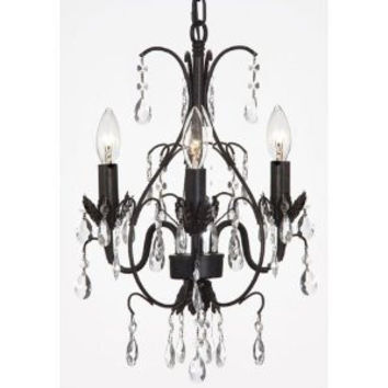 "New! CHANDELIER WROUGHT IRON CRYSTAL CHANDELIERS H18"" X W14"" SWAG PLUG IN-CHANDELIER W/ 14' FEET OF HANGING CHAIN AND WIRE! - A7-B16/591/3"