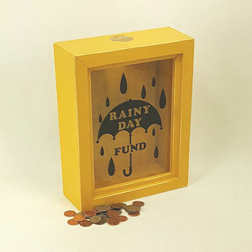 Yellow shadow box change collection rainy day fund rustic piggy bank