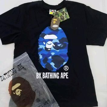 cc DCCK A Bathing Ape Big Ape Head Black Tee Blue Camo