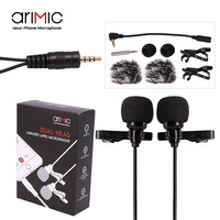 AriMic Dual-Head Clip on Lapel Microphone Lavalier Omnidirectional Condenser Recording Mic for iPhone Sumsang DSLR Camera Phones