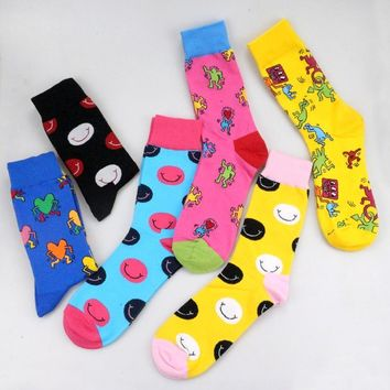 2018 keith haring Fancy Character Smiley Face Colorful Personality Funny Women Men Unisex Socks Happy Socks Cotton Cozy Socks