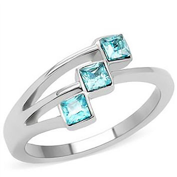 Aqua...licious – Square cut three stone aquamarine color stainless steel ring