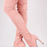 Gigi Stiletto Heel Pointy Toe FX Suede Stocking OTK Boot Pink Blush