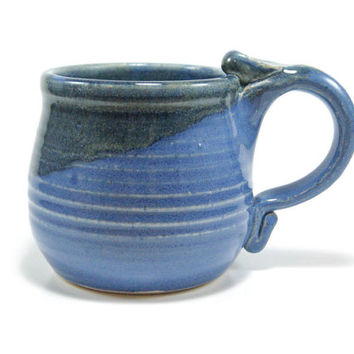 Blue and dark green pottery mug - blue ceramic coffee cup - wheel thrown coffee mug - stoneware mug - handmade coffee mug - blue mug