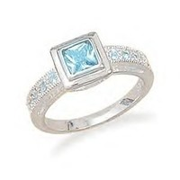 Blue Topaz Ring With Pave CZ Band