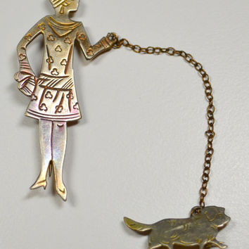 Antique Flapper Pin Brooch Flapper Girl With Dog On Leash 1920s Flapper Pin Dog on Chain 1920s Jewelry 1920s Pin Brooch Flapper Brooch