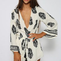 Testament Playsuit - White & Black Print
