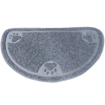 Evelots® Premium Anti-Tracking Half Moon Food / Litter Mat, Soft Non Skid Pet Rug