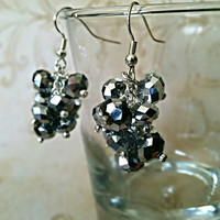 The Ava- Silver Swarovski Crystal Cluster Earrings