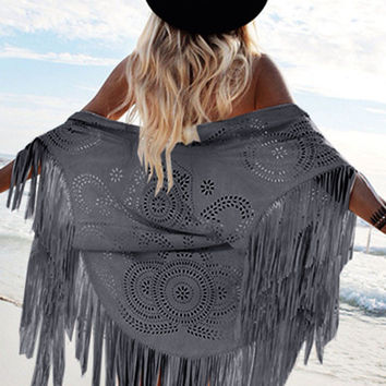 Gray Suedette Laser Cut Asymmetric Fringed Cape