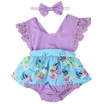 Summer Newborn Baby Girls Purple Clothes Backless Lace Romper Skirted Jumpsuit +Headband 2PCS Outfit Princess Dress Sunsuit