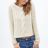 FOREVER 21 Boxy Cable Knit Sweater