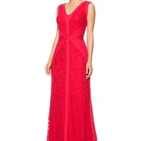 LACE V-NECK GOWN WITH PINTUCK JERSEY PIPING