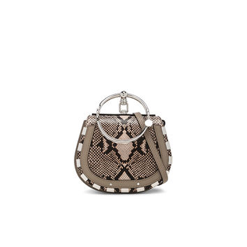 Chloe Small Nile Python Print Leather Bracelet Bag in Eternal Grey | FWRD
