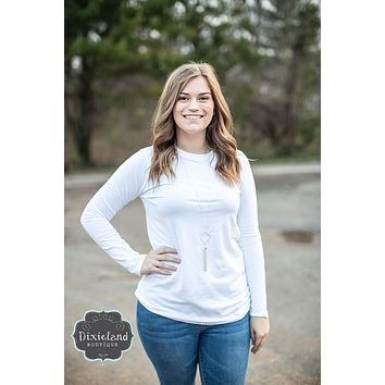 White Cotton Crew Neck Long Sleeve Tee