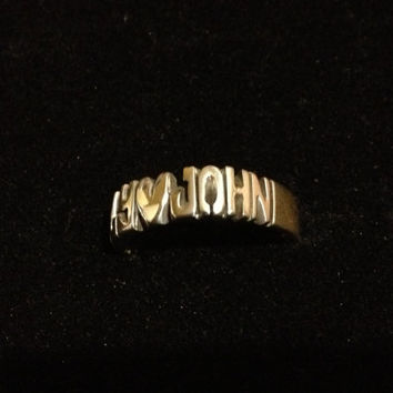 Hand Carved Ring With Two Names And Heart In The Middle ( Round Ring )