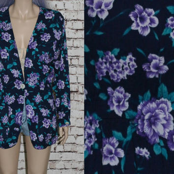 90s Long Blazer Floral Cotton Light Jacket Coat Jumper Navy Blue Purple Teal Hipster Grunge Cyber Goth Festival pastel 80s Oversize Fitted