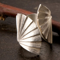 Sterling Silver Fan Ring, 925 Sterling Silver Ring, Artistic Jewelry, Handmade by OKUDAdesign