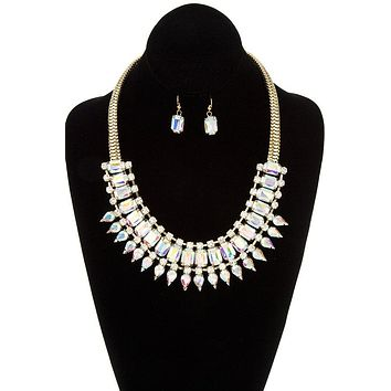 Womens Fashion Jewelry Faceted crystal gem link bib necklace set
