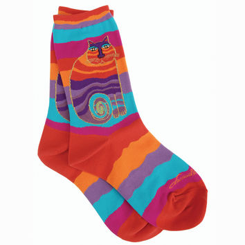 laurel burch socks-rainbow cat -multi wavy stripe