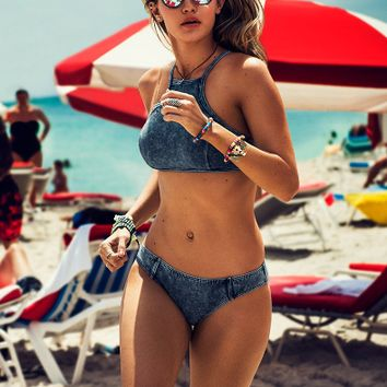 Denim Print Bikini Bathing Suit