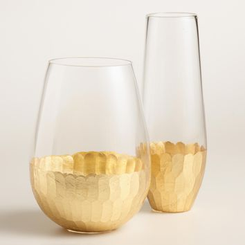 Gold Faceted Stemless Glassware Collection