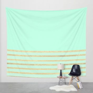 Mint and Gold stripes Wall Tapestry by Xiari | Society6