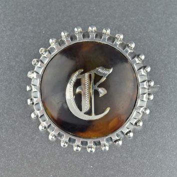 Initial Pique Brooch,Sterling Silver Antique Letter E Brooch Pin 1908